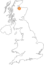 map showing location of Nairn, Highland