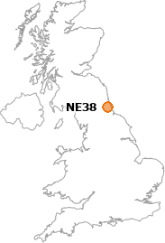 map showing location of NE38