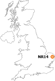 map showing location of NR14