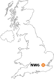 map showing location of NW6