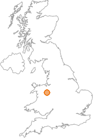 map showing location of Oswestry, Shropshire