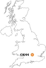 map showing location of OX44
