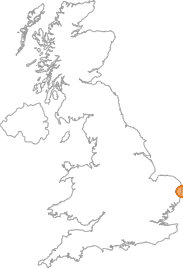 map showing location of Pakefield, Suffolk