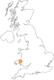 map showing location of Pencader, Carmarthenshire