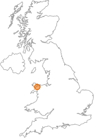 map showing location of Pentir, Gwynedd