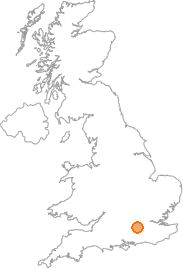 map showing location of Pirbright, Surrey