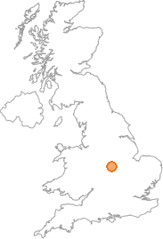 map showing location of Ratby, Leicestershire