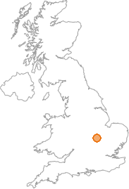map showing location of Raunds, Northamptonshire