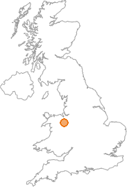 map showing location of Ruabon, Wrexham