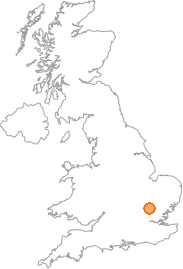 map showing location of Rushden, Hertfordshire