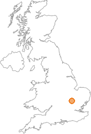 map showing location of Sandy, Bedfordshire