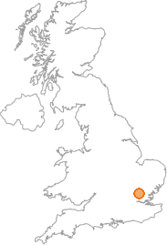 map showing location of Sawbridgeworth, Hertfordshire