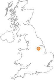 map showing location of Scrooby, Nottinghamshire
