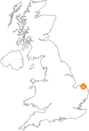 map showing location of Sheringham, Norfolk