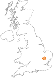 map showing location of Shudy Camps, Cambridgeshire