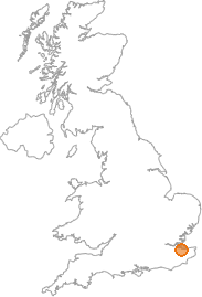 map showing location of Sittingbourne, Kent