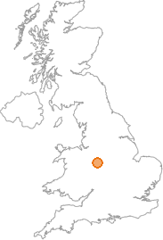 map showing location of Stafford, Staffordshire