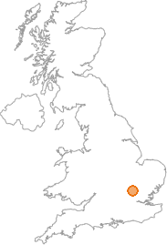 map showing location of Stevenage, Hertfordshire