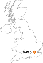 map showing location of SW10