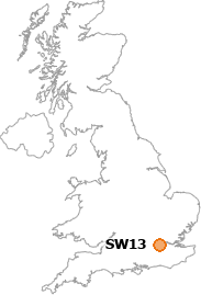 map showing location of SW13