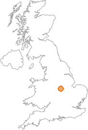 map showing location of Swithland, Leicestershire
