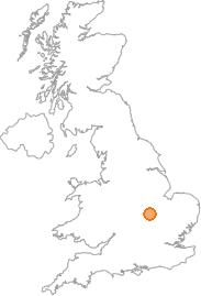 map showing location of Thrapston, Northamptonshire