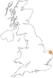 map showing location of Trunch, Norfolk