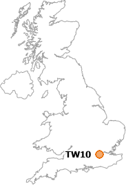 map showing location of TW10