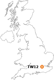 map showing location of TW12