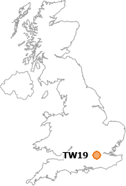 map showing location of TW19