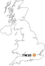 map showing location of TW20