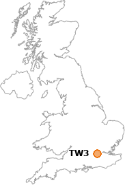 map showing location of TW3