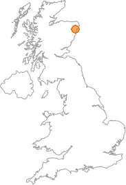 map showing location of Udny Station, Aberdeenshire