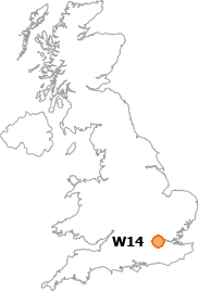 map showing location of W14