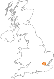 map showing location of Waltham Abbey, Essex