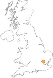 map showing location of Ware, Hertfordshire