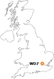 map showing location of WD7