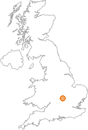 map showing location of Whittlebury, Northamptonshire