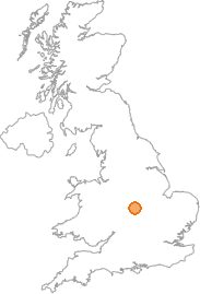 map showing location of Wolvey, Warwickshire