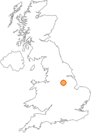 map showing location of Worksop, Nottinghamshire