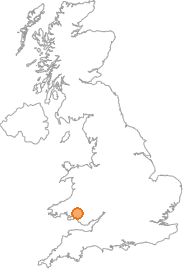 map showing location of Ystradgynlais, Powys