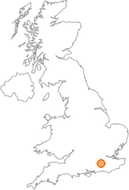 map showing location of Abinger Hammer, Surrey