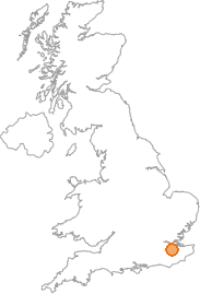 map showing location of Addington, Kent
