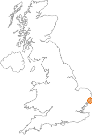 map showing location of Aldeburgh, Suffolk
