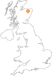 map showing location of Aldunie, Moray