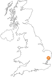 map showing location of Barking, Suffolk