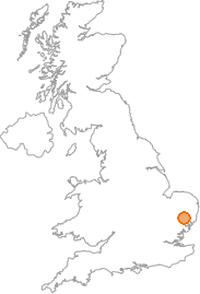 map showing location of Battisford Tye, Suffolk