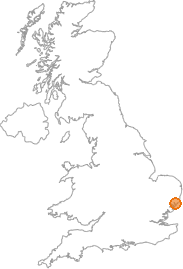 map showing location of Bawdsey, Suffolk
