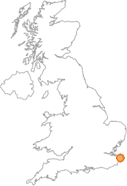 map showing location of Bramling, Kent