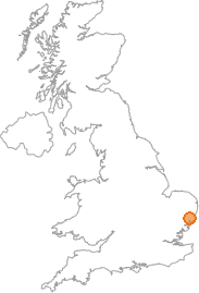 map showing location of Bruisyard, Suffolk
